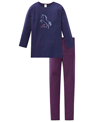 Schiesser Mädchen Pferdewelt Md Anzug lang Zweiteiliger Schlafanzug, Blau (Dunkelblau 803), (Herstellergröße: 116)
