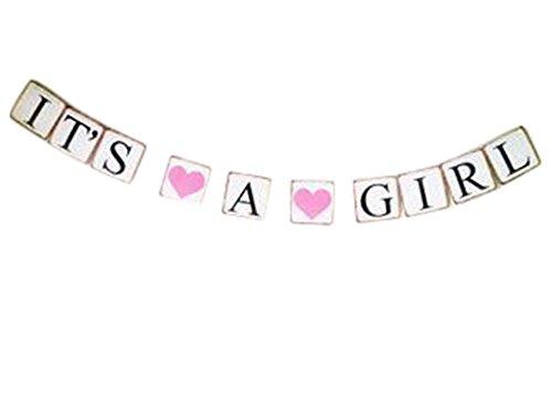 Demarkt slinger met wimpelketting, papieren vlaggen, bruiloft, verjaardag, feest, decoratie, BACHELO RETTE met 2 harten 13 x 13 x 300 cm It''s A Girl met 2 hartjes