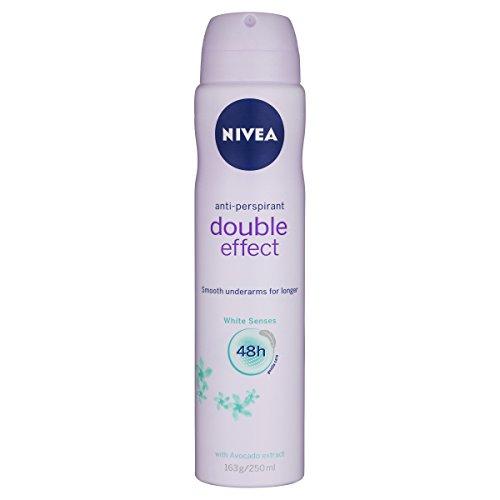 NIVEA Double Effect White Senses Aerosol Antiperspirant Deodorant Spray, 250 ml