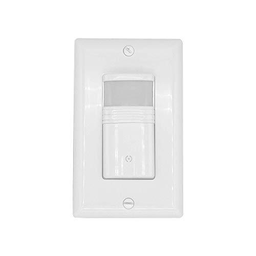 Interruptor de luz de vacancia y ocupación, interruptor de sensor de 3 vías, 180°, máx. 720 pies cuadrados, 120/277 VAC, 60 Hz, cable neutro, blanco
