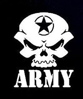 CCI Army Skull Decal Vinyl Sticker|Cars Trucks Vans Walls Laptop| White |5.5 x 4.5 in|CCI791