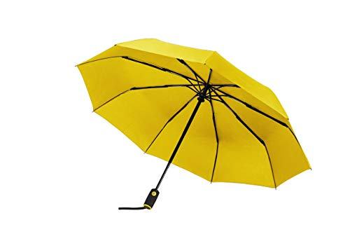 Yellow Umbrella - Windproof Travel Umbrella with Teflon Coating, Collapsible and Compact Umbrella Perfect for Any Purse or Backpack