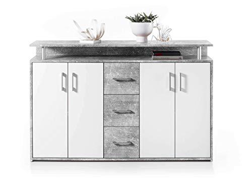 AVANTI TRENDSTORE - Doro - Comó con 1 ripiano Aperto, 3 cassetti e 4 Ante, Disponibile in 2 Diversi Colori, Dimensioni: Lap 139x90x34 cm (Grigio-Bianco)