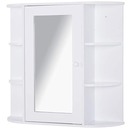 homcom Mobiletto Pensile da Bagno con Specchiera, Anta Centrale e Mensole in Legno Bianco (60 x 17 x 63 cm)