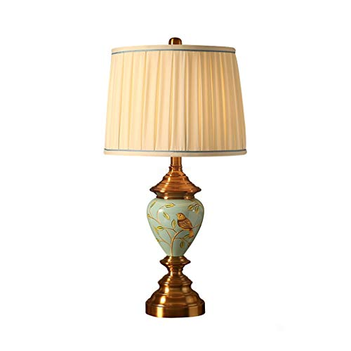 Nordic keramische slaapkamer tafellamp van stof plissé lampenkap kantoor handbeschilderd licht lezen, kantoor studio bedlampje bureaulamp T-20-4-11