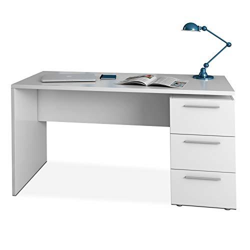 Habitdesign Mesa de Despacho 3 Cajones, Mesa Escritorio, Modelo Stylus, Acabado en Color Blanco Artik, Medidas: 138 (Ancho) x 60 cm (Fondo) x 74 (Alto)