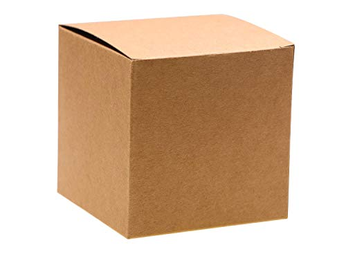 Mini Skater 12 Pcs Kraft Gift Box 3 x 3 x 3 Inch Mini Brown Empty Boxes for Wrapping Gifts Crafting Paper Cupcake Candy Jewelry Box of Candles Packaging Christmas Thanks Giving