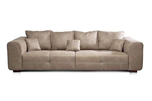 CAVADORE Big Sofa Mavericco / XXL Love Seat im modernen Design in Lederoptik / Inklusive Rückenkissen und Zierkissen / 287 x 69 x 108 cm (BxHxT) / Mikrofaser Beige