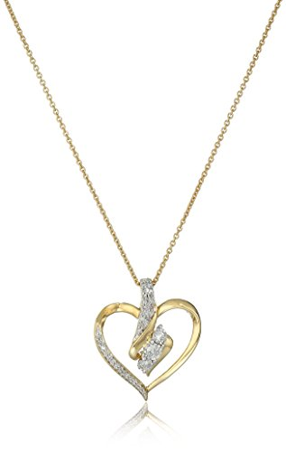 18K Yellow Gold over Sterling Silver Diamond Heart Pendant Necklace (1/4 cttw), 18\