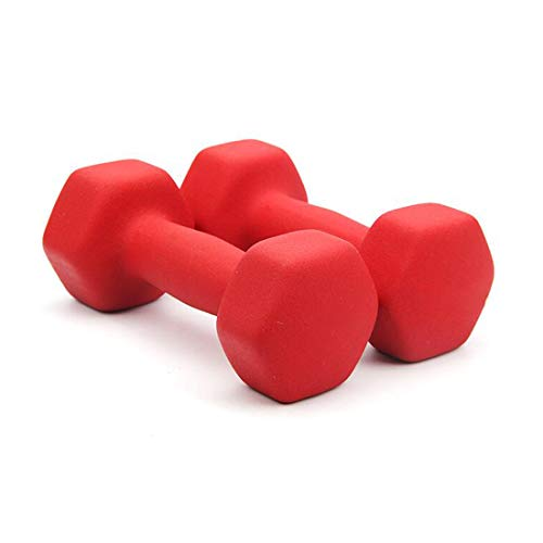 Set di manubri, Hex Gomma Colore manubri Peso, 1KG / 1,5 kg / 2 kg / 3kg / 4KG / 5KG, Fusioni Ferro Solido Bilanciere per Forza di Base Formazione Fitness Gym Equipment, Set di 2,Rosso,1KG*2