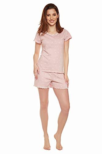 Moonline - Pijama pirata para mujer de algodón suave Rosa-Flamingos S
