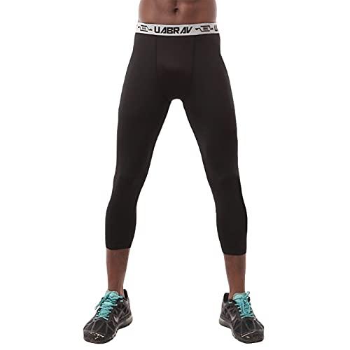 Hombres Compresión Leggins, Correr Mallas Deportivas Secado Rápido Alta Elasticidad Leggings Deporte Largo para Running Fitness Rutina De Ejercicio,Negro,L