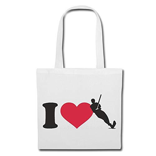 Tasche Umhängetasche I Love Wasser SKI - MOTORBOOT - WASSERSKIFAHREN - WASSERSKI - MOTORYACHT Einkaufstasche Schulbeutel Turnbeutel in Weiß