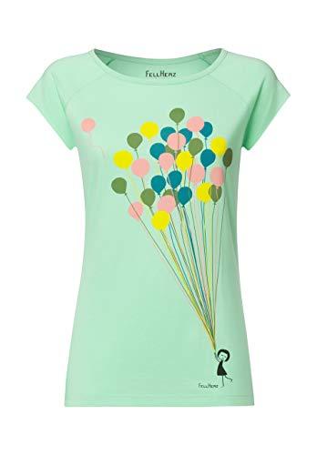 FellHerz Balloons Girl hellgrün - Damen T-Shirt Bio & Fair aus 100% Bio-Baumwolle und unter fairen Bedingungen hergestellt, nachhaltig, vegan, ökologisch, alternativ, natürlich, vielseitig (S)