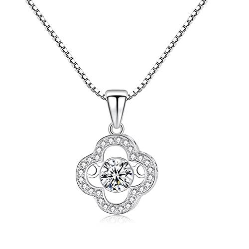 qianbanger Collares de plata925 Collar de Plata esterlina trébol de Cuatro Hojas Colgante Inteligente joyería de Temperamento Simple para Mujer