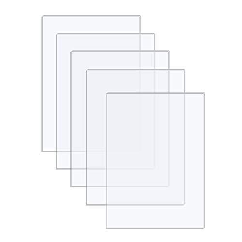 Langaelex 5 Hojas de Acrílico Transparente 177,8 x 127 x 2 mm Metacrilato Plexiglás para Reemplazo de Vidrio de Marcos de Fotos, Exhibición de Proyectos, Pintura (5 x 7 pulgadas)