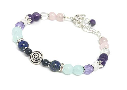 Swirl Fertility and Pregnancy Bracelet/Adjustable Clasp/Med-Large/ 7-8 inches/Healing Crystal Jewelry/Natural Gemstones Rose Quartz, Amethyst, Chrysocolla, Black Onyx, Moonstone, Amazonite