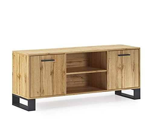 Skraut Home - Meuble TV 140 avec 2 Portes, Salon, modèle LOFT, Couleur de la Structure et des Portes Chêne Rustique, Mesure 137x40x57cm de Haut.