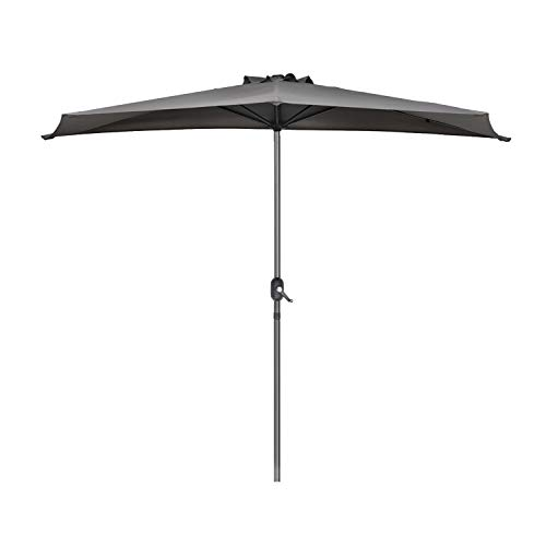 Sekey 2.7m halbrundschirm Marktschirm, Sonnenschirm mit Kurbel und Klettbandverschluss für Garten, mit 5 Stahlverstrebungen, 100% Polyester (Grau), UV 50+