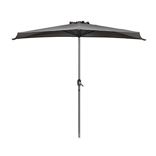Sekey 2.7m halb-runder Sonnenschirm/Marktschirm/Terrassen-Schirm mit Kurbel für Garten, Terrassen, Höfe, Schwimmbäder, mit 5 Stahlverstrebungen, 100% Polyester Schirm, UV 50+,Grau