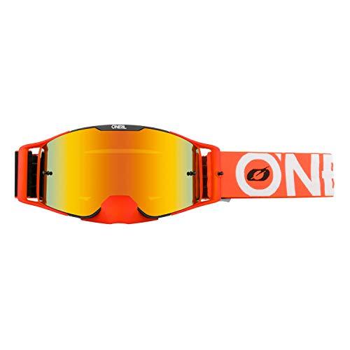 O'NEAL | Fahrrad-Brille Motocross-Brille | MX MTB DH FR Downhill Freeride | Verstellbares Band, optimaler Komfort, perfekte Belüftung | B-30 Goggle | Unisex | Schwarz Orange verspiegelt | One Size