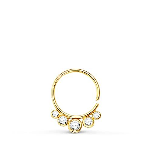 Piercing Aro Zircon Oro Amarillo 18K Pendiente de oreja suelto 15 mm