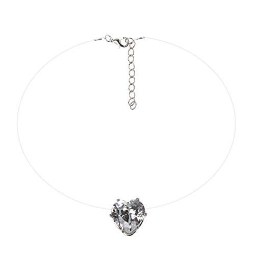 vokee Invisible Heart Cubic Zirconia Stone Colgante, Collar Claro Línea de pesca Gargantillas