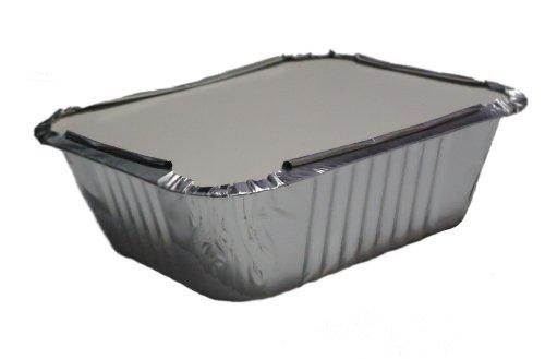 GFC - 100 contenitori No2 per alimenti, in alluminio, con coperchio