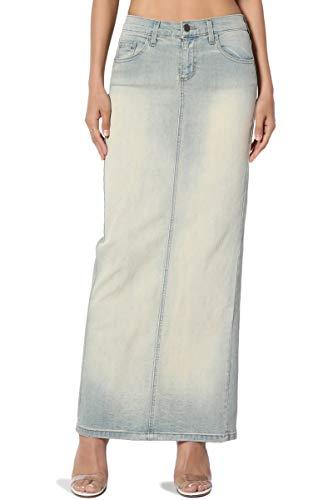 TheMogan Women's Mid Rise Back Slit Pencil Long Maxi Denim Skirt Light 5