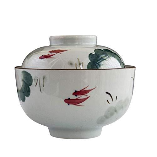Yiyu Keramikschale Mit Deckel Handbemalt Ramen Suppenschale Haushalt Instant Nudelschale Kreatives Japanisches Geschirr 800Ml x (Color : A)