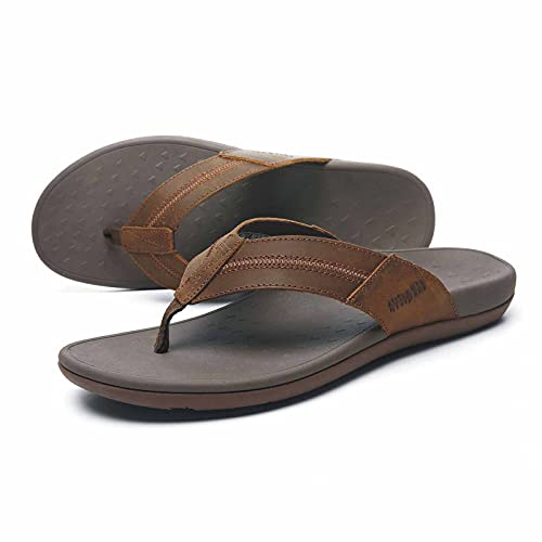 Men's Orthotic Flip Flops with Arch Support, Plantar Fasciitis Sandals for Foot Pain Relief, Casual Oiled Leather Toe-Post Slippers for Walking/Ourdoor/Vacations 20MENZG05-W2-8