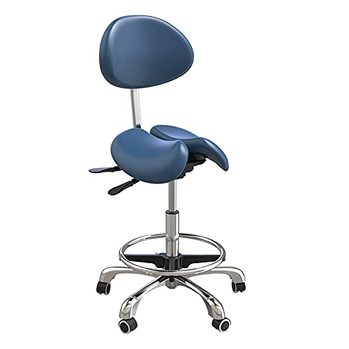 N / B Ascensor de Silla giratoria, sillas de Silla de Montar, Anillo de reposapiés de Respaldo Ajustable de Dos Partes Cojín de Asiento neumático PU Rueda Universal Taburete Ergonómico Oficina, Azul
