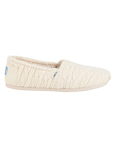 TOMS Women's Classics Cable Knit with Shearling, Natural, 7