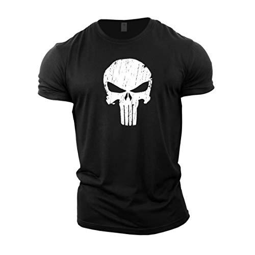 GYMTIER Magliette da Uomo per Bodybuilding - Skull - Top per Allenamento in Palestra