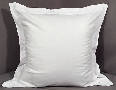 Precious 450 Thread Count All USA Size 2PCs Pillow Sham White Solid Soft Single-Ply Egyptian Cotton (Square (24 x 24 Inch + 2'' Flange))