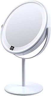 Environmental Protection Material Makeup Mirror HD LED Non-deformable Vanity Mirror 360° Rotating Bathroom Mirror Mirror Diameter 16CM (Color : White, Size : Mirror Diameter 16CM)