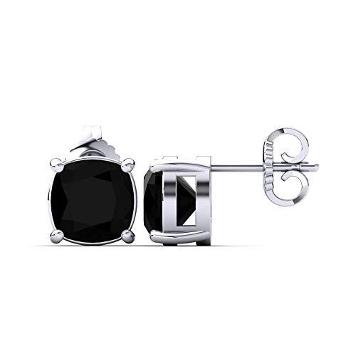 SLV Pendientes solitarios de diamante negro de 5 mm-9 mm, talla cojín D/VVS1 en plata de ley 925 chapada en oro blanco de 14 quilates