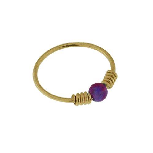 9K Solid Gelb Gold lila Opal Stein mit doppelten Frühling Spule 22 Gauge Hoop Nase Ring Tragus Helix Piercing