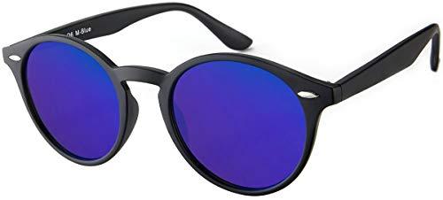 Sonnenbrille Herren Damen La Optica UV400 CAT 3 Retro Vintage Hippie Rund Round - Matt Schwarz (Blau Verspiegelt)