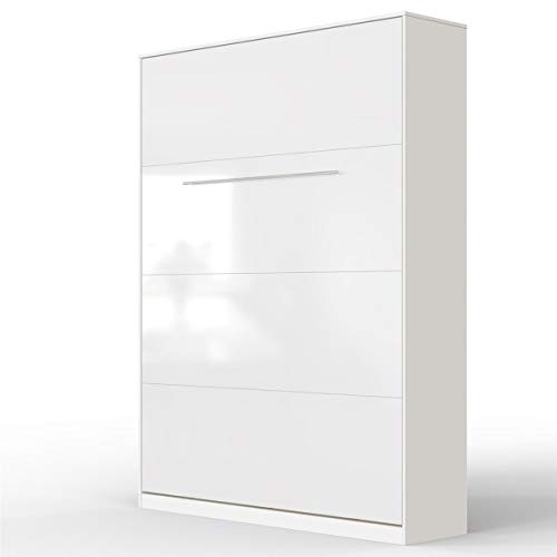 SMARTBett Standard 140x200 Vertikal Weiss/Weiss Hochglanzfront Schrankbett   ausklappbares Wandbett, ideal geeignet als Wandklappbett fürs Gästezimmer, Büro, Wohnzimmer, Schlafzimmer