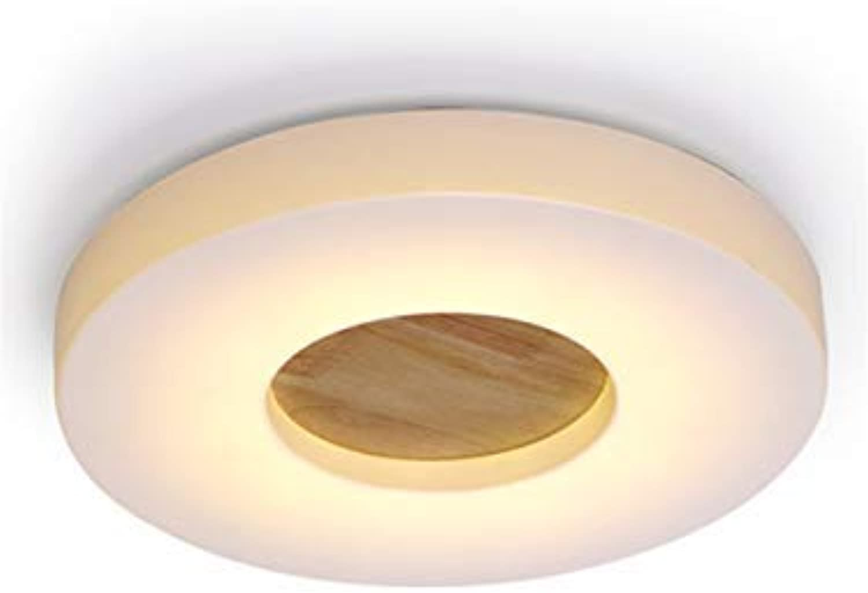 Kreative Led Nordic Holz Deckenleuchte Einfache Moderne Massivholz Balkon Gang Lichter,21Cm, 12W Warmes Licht