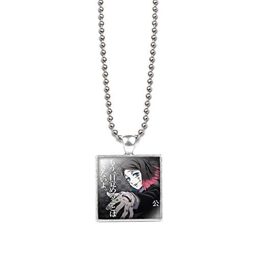 FANTESI Demon Slayer:Kimetsu No Yaiba Necklaces Acrylic Pendant Cosplay Costume Accessories Gift for Fans(silver1)