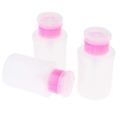 FLAMEER 3pcs Bouteille Distributeur Dissolvant Lotion pour Vernis Gel en Plastique Flacon Pompe Vide pour Démaquillants Maquillage 180 ml - Rose