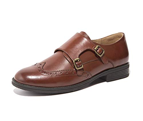 MGM-Joymod Zapatos de cuero para mujer, estilo casual, vintage, con doble hebilla, estilo Oxford, color, talla 37 EU