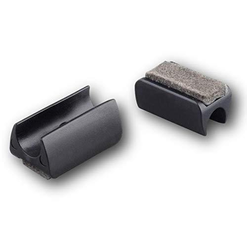 4 Klemmschalengleiter/Stuhlgleiter, Kunststoff, schwarz, mit Filz, für runde Rohre