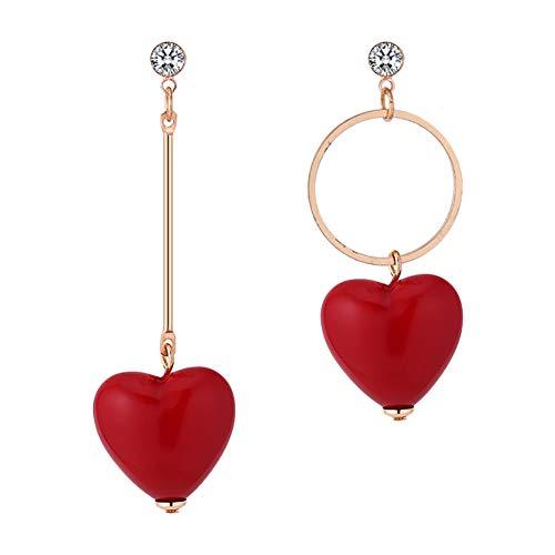 Demarkt Pendientes Asimétricos en Forma de Corazón Rojo Pendientes d