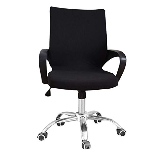 YAYANG Chair Cover Büro-Computer-Stuhl deckt Spandex-Stuhlabdeckungen Büro-Anti-Dust-Universal-Schwarz-Blau-Sessel-Cover Casual (Color : Black, Specification : Small(45 55cm))