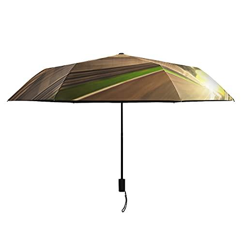 Paraguas negro Paraguas compacto de movimiento borroso para pista de carreras de coches para adultos Paraguas portátiles ligeros a prueba de viento para viajes Sol Paraguas plegable perfecto para niñ