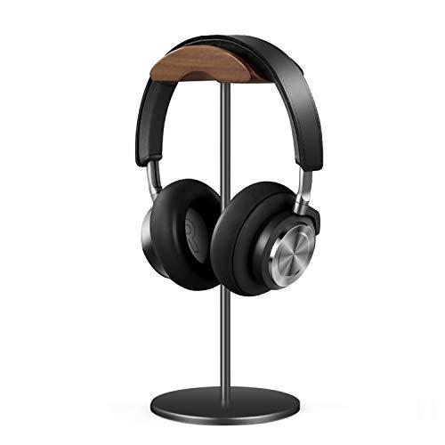 QinCoon Soporte Auriculares, Soporte de Nogal y Aluminio, Stand para Headset de Juego con Base Maciza y Pesada, Aplicable a Auriculares de Diadema de Todo Tamaño (Negro)