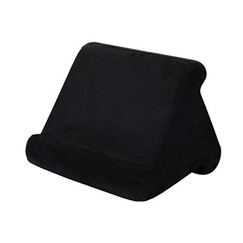 Soporte de almohada para tableta, soporte de almohada suave multiángulo para tabletas, lectores electrónicos, teléfonos inteligentes, libros, revistas, compatible con la mayoría de tabletas (negro)